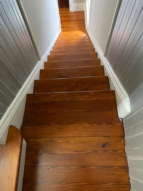 Refinished Red Heart of Pine Staircase
