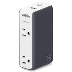 Belkin Dual-Outlet Travel Surge Protector with Battery Pack