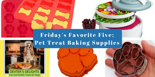 Friday's Favorite Five: Pet Treat Making Supplies and Gifts. You want to find the best healthy dog treats and healthy cat treats, but that can sometimes seem impersonal. You love your dog and cat and you want to provide them with the best treats available, so make them yourself! It's easy to findhealthyhomemade dog treat recipes and healthy homemade cattreatrecipes (click for ideas). But you may need a few treat making supplies. Here are five great items to get you baking for your pets.