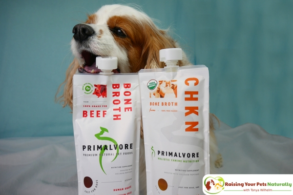 Health Benefits of Bone Broth for Dogs. Primalvore Collagen Boosted Bone Broth Review. #raisingyourpetsnaturally