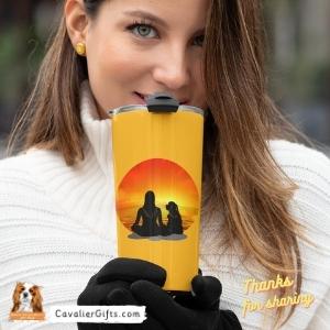 Cavalier Spaniel sunset travel mug