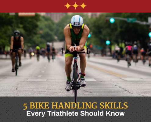 Male cyclist rides down Congress Avenue during CapTex Tri with the Texas State Capitol in the background. Text in design reads 5 Bike Handling Skills Every Triathlete Should Know. Learn more at https://captextri.com/bike-handling-skills/