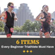 Two males run on South 1st Street bridge with the Austin skyline in the background during the CapTex Triathlon. Text in design reads 6 Items Every Beginner Triathlete Must Have. Learn more at https://captextri.com/6-items-beginner-triathlete/