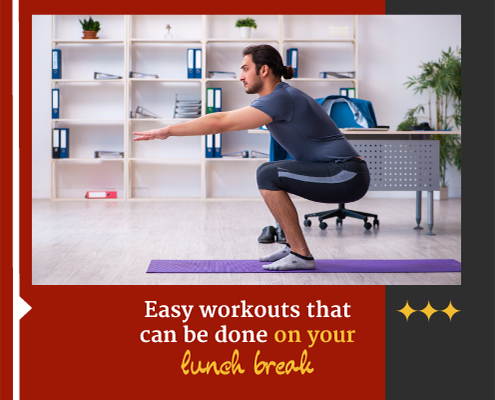 Male does squats in his office for exercise. Text on design reads Easy Lunch Break Workouts. Learn more at https://captextri.com/lunch-break-workouts/