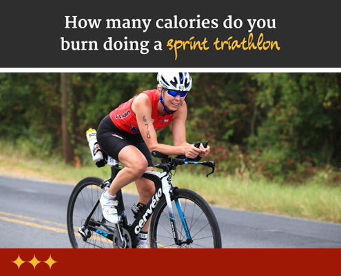 Cyclist rides her bike on the open road during a sprint triathlon. Text on design reads How Many Calories are Burned During a Sprint Triathlon. Read more at https://captextri.com/how-many-calories-are-burned/