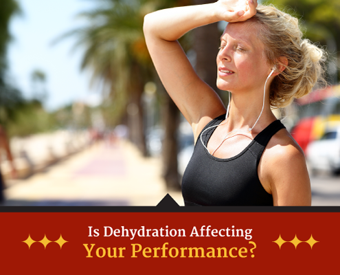 Woman stops mid-run and puts her hand on her forehead. Text on design reads Is Dehydration Affecting Your Performance. Read more at https://captextri.com/dehydration-affecting-your-performance/