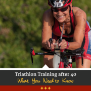 Cyclist smiles for the camera while riding her bike. Text on design reads Triathlon Training After 40: What You Need to Know. Learn more at https://captextri.com/triathlon-training-after-40/