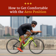 Cyclist rides in the aero position on the S. 1st St. Bridge during the 2021 CapTex Triathlon. Text on design reads How to Get Comfortable with the Aero Position. Learn more at https://captextri.com/get-comfortable-aero-position/