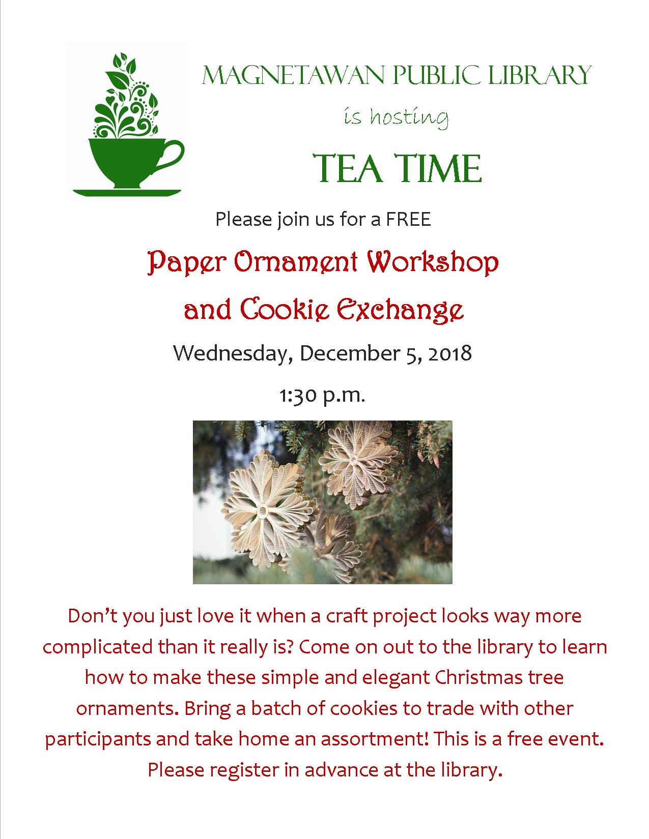 Event poster for Cookie Exchange and Paper Ornament Workshop