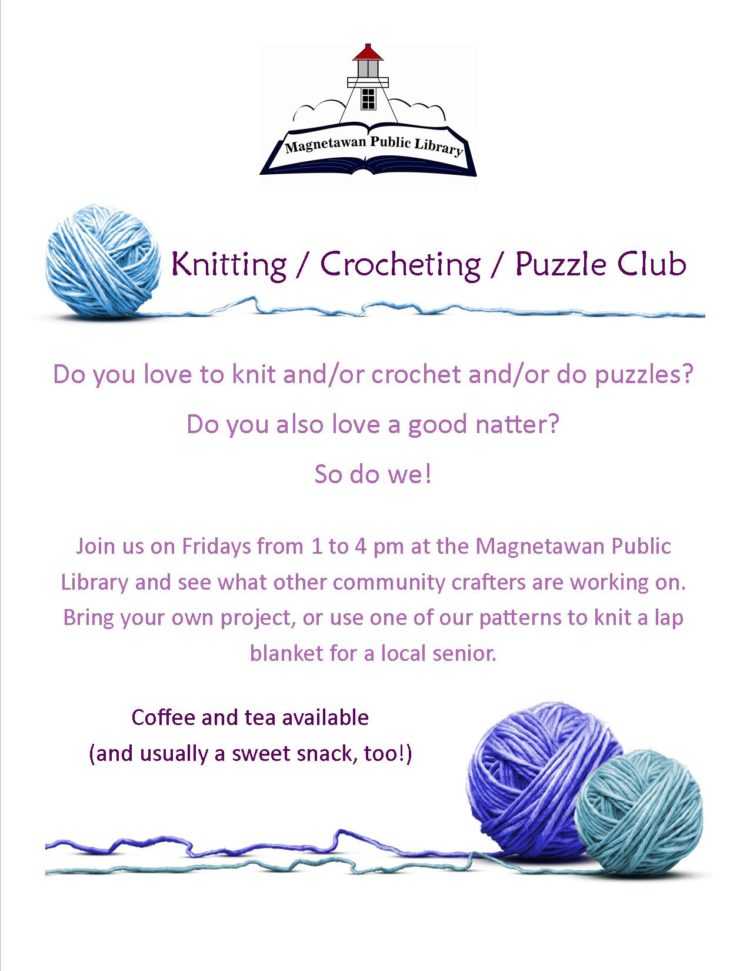 Knitting / Crocheting / Puzzle Club poster