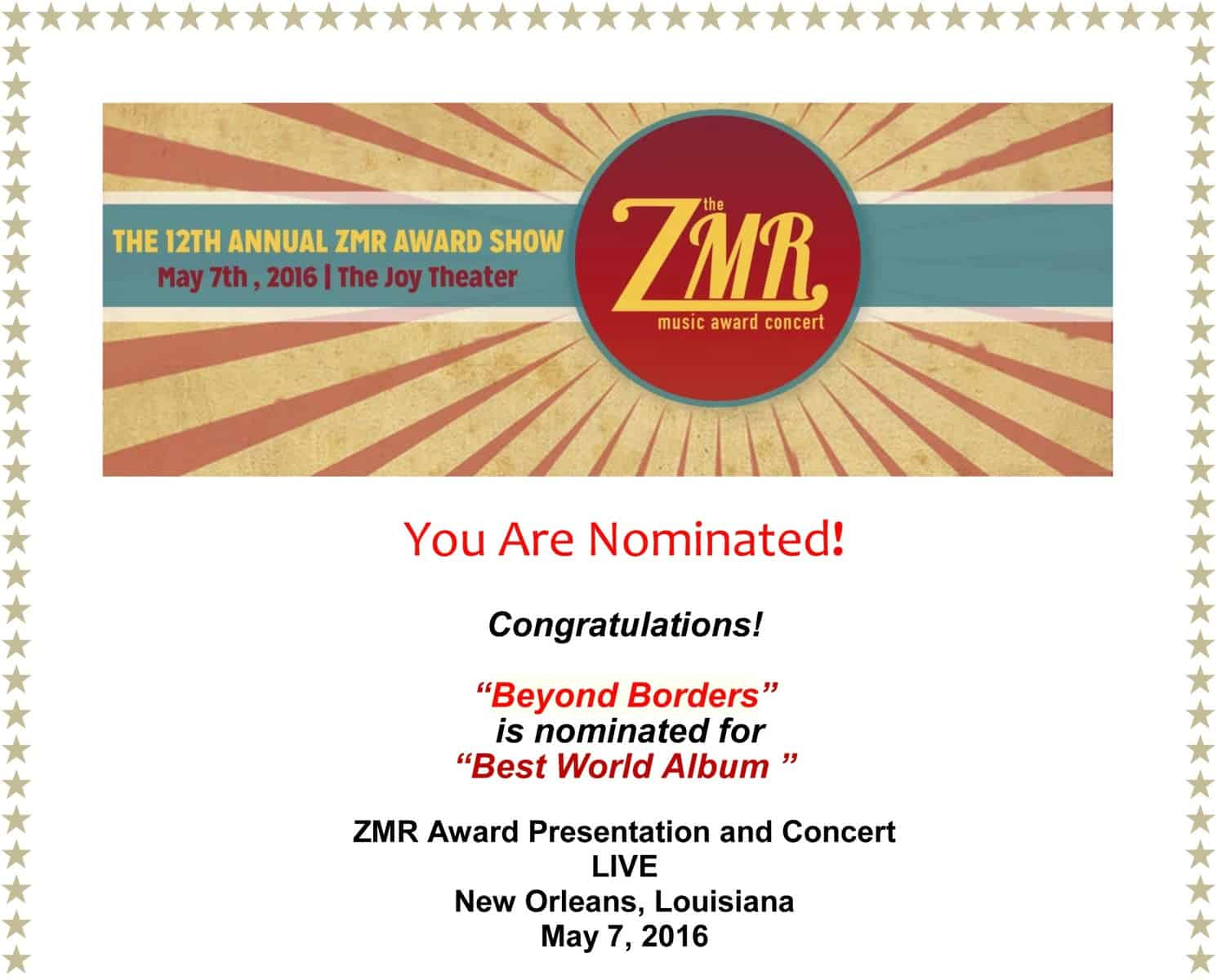 """Beyond Borders Nominated """"Best World Album"""" by ZMR"""