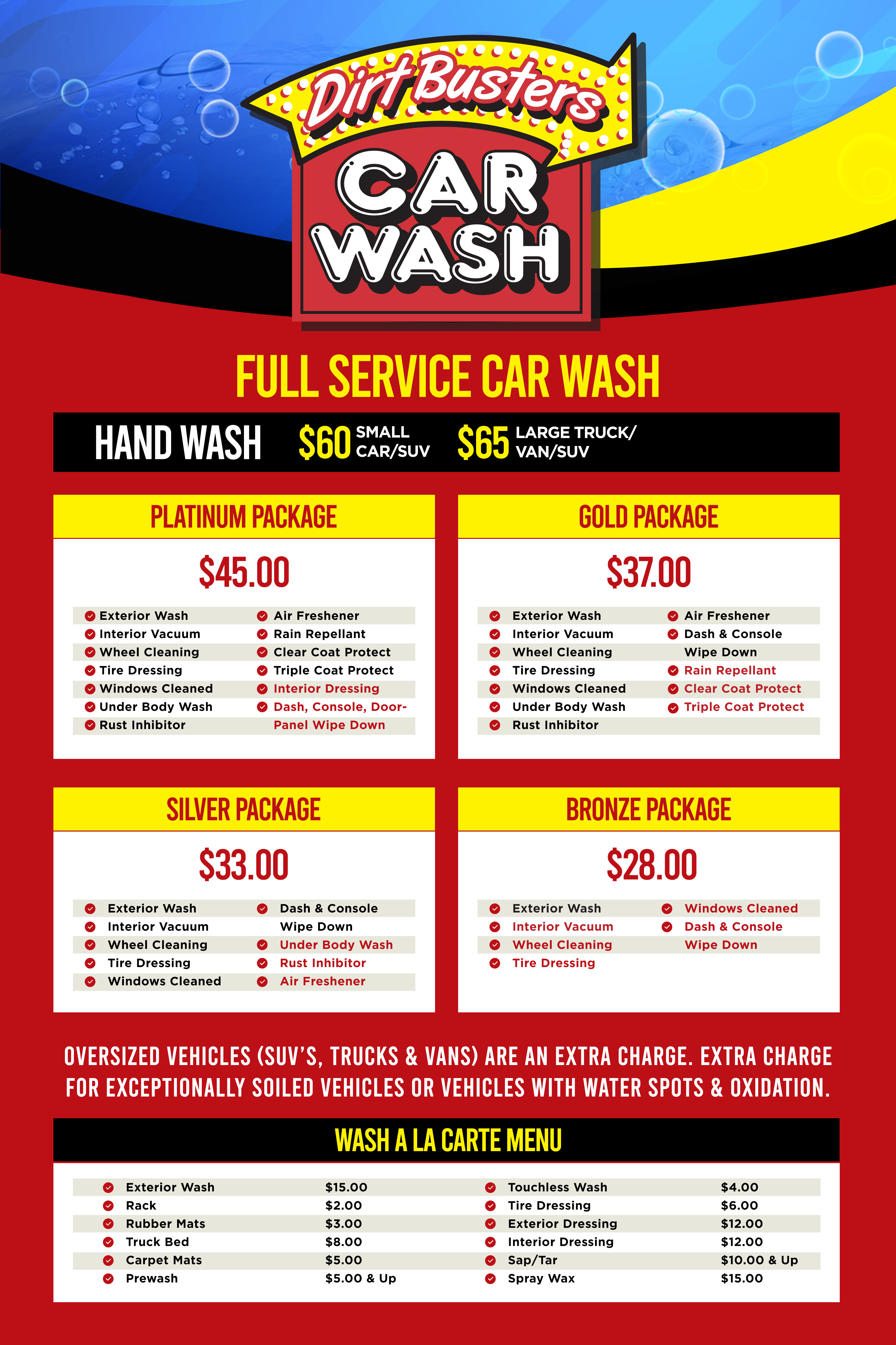 wash menu