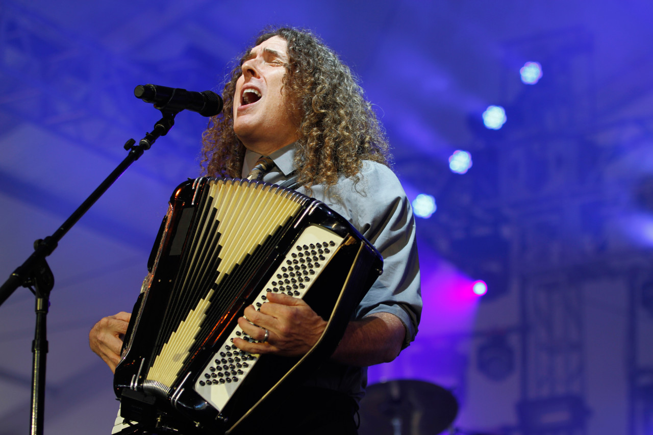 """""""Weird Al"""" Yankovic performs in the Gotham tent stage at Governors Ball on Randall's Island, New York on June 7, 2015. (© Michael Katzif – Do not use or republish without prior consent.)"""