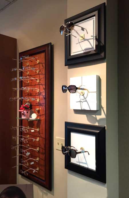 Wall Display of Optical Frames and Sunglasses at Wohl Optics
