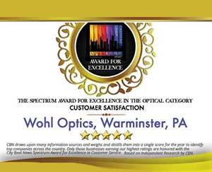 Spectrum Award Excellence in Customer Service Wohl Optics