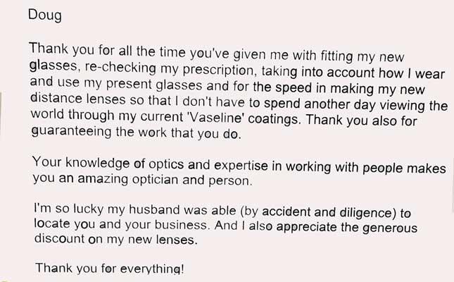 Wohl Optics Letter of Thank You to Doug