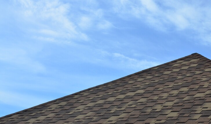 The roof covered with a modern flat bituminous waterproof coatin