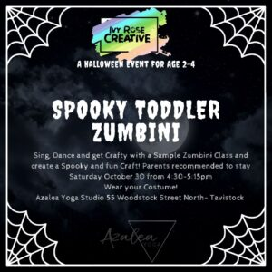 Spooky Toddler Zumbini October 30 from 4:30-5:15pm