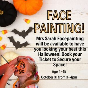 Halloween Face Painting October 31 from 3-4pm
