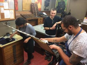 Printing fellows in the Massey College Bibliography Room