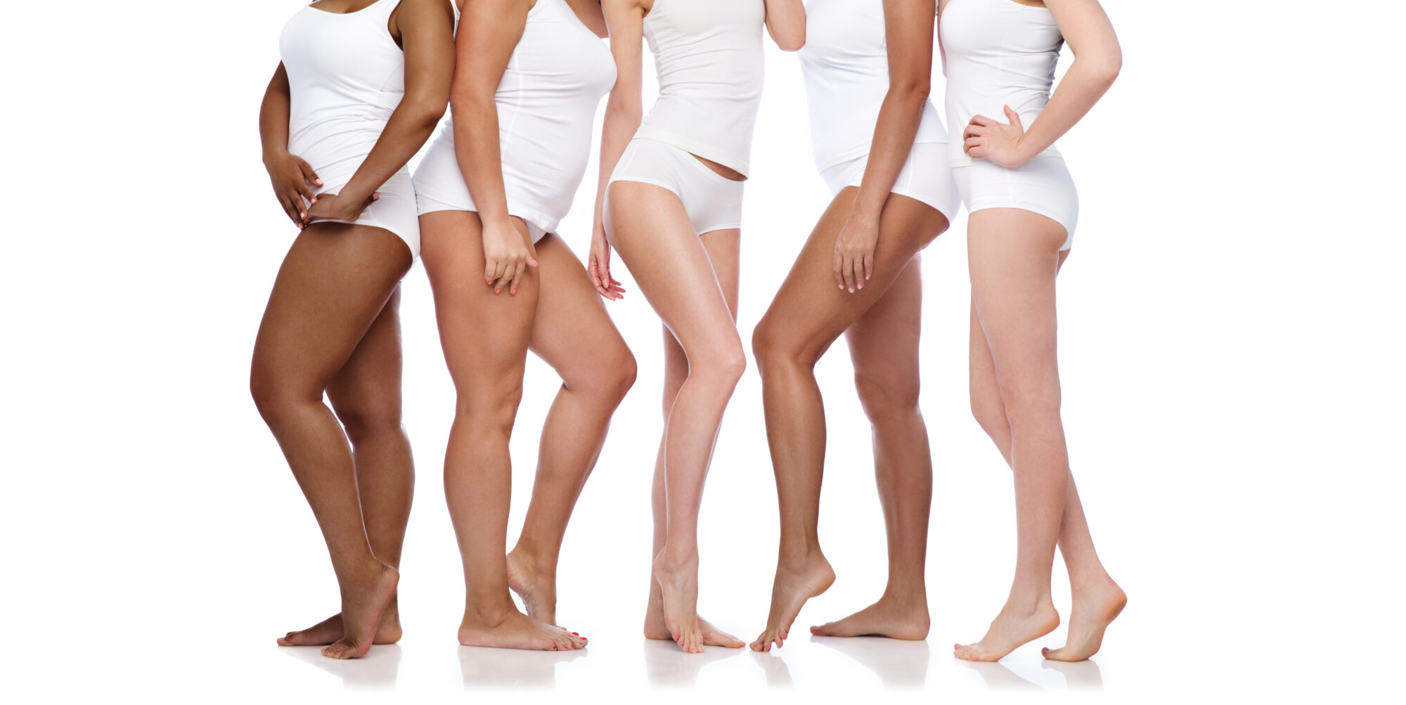 beauty, body positive and people concept - group of happy diverse women in white underwear