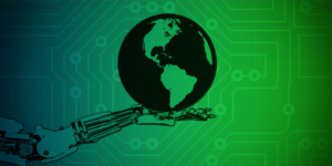 robot hand holing the earth graphic