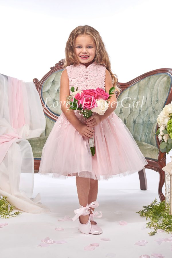 Sleeveless Lace and Tulle Flower Girl Dress