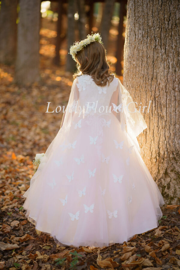 Embroidered Pink and White Flower Girl Dress