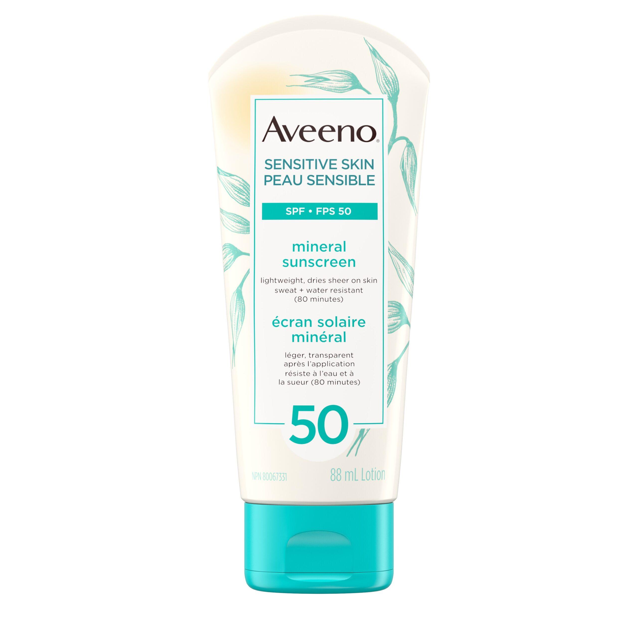 Aveeno Sensitive Skin SPF 50 Mineral Sunscreen - $19.99 CAD