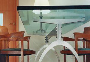 modern custom designed desk glass top curved metal base