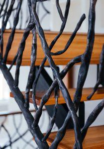 custom stair rail metal branches