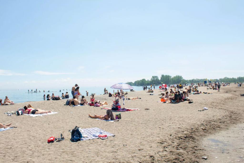 People gathered at Woodbine beach in Toronto