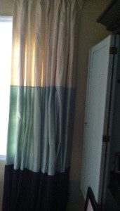 Original curtain with teal green middle