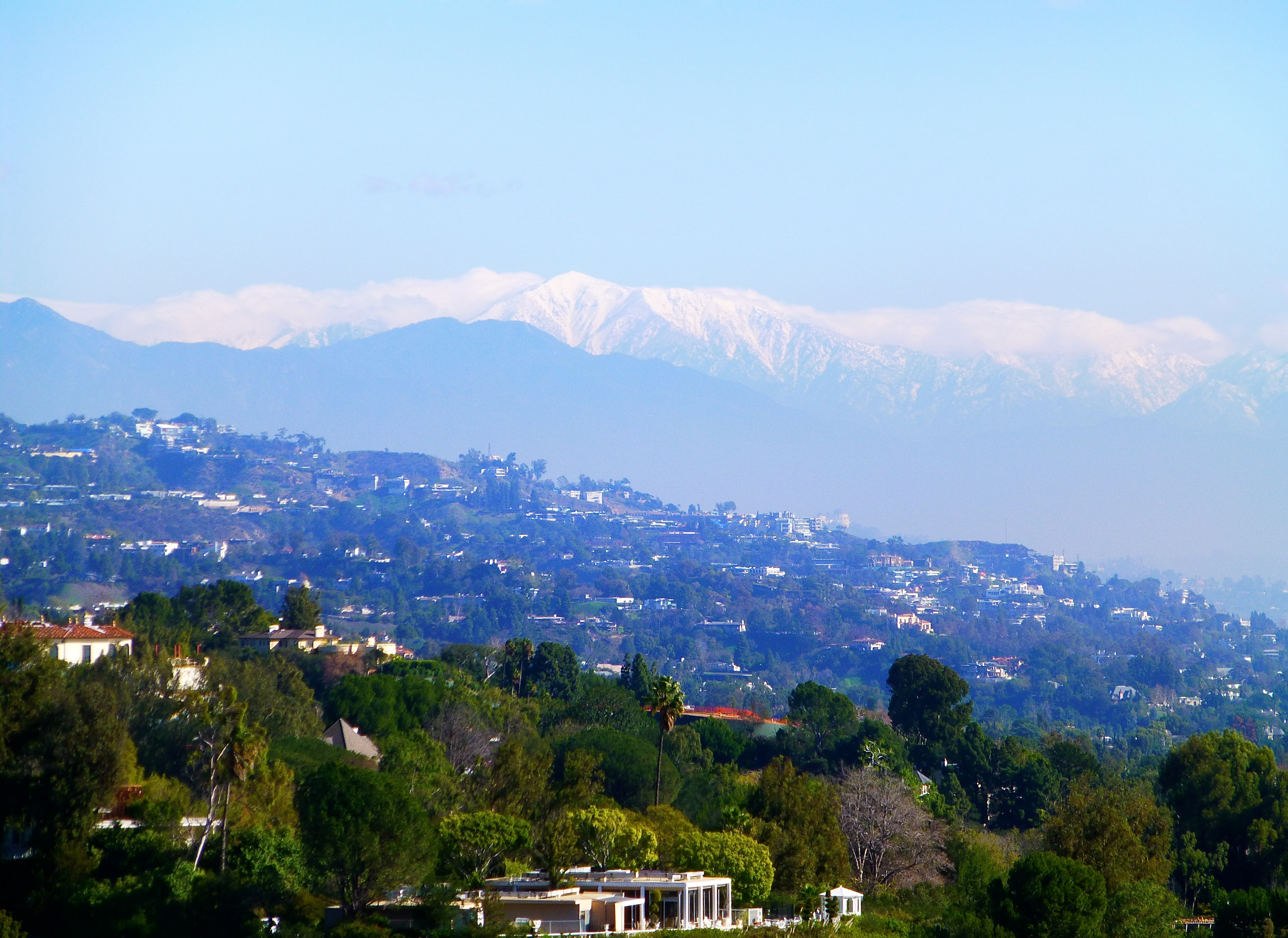 View of snow in the distance from the Getty
