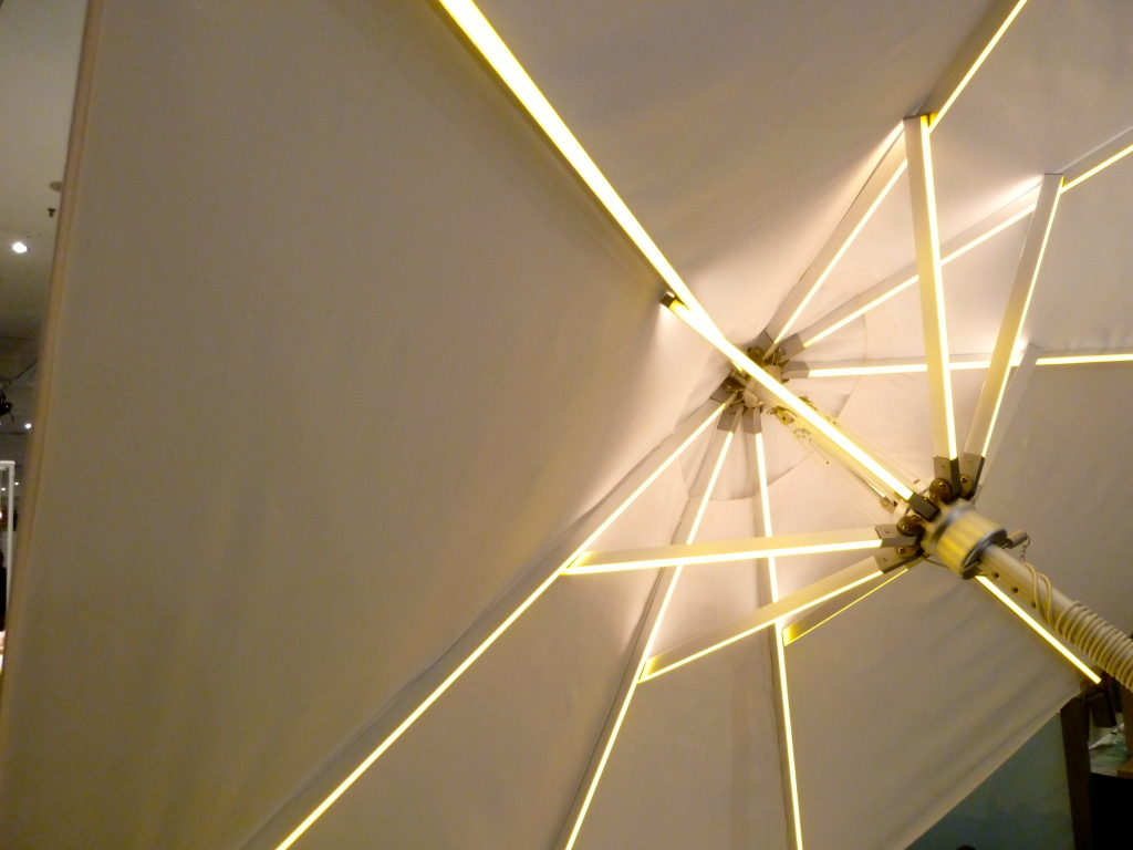 Outside umbrella lit from within