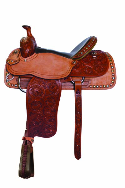 <p><b>PRE-ORDER ONLY</b></p> 1249 Toast rough out & floral tooled roper saddle