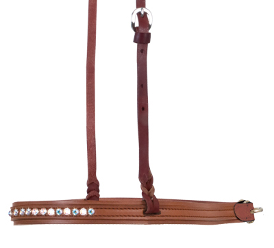 2000-TJ noseband toast leather w/ crystals and spots