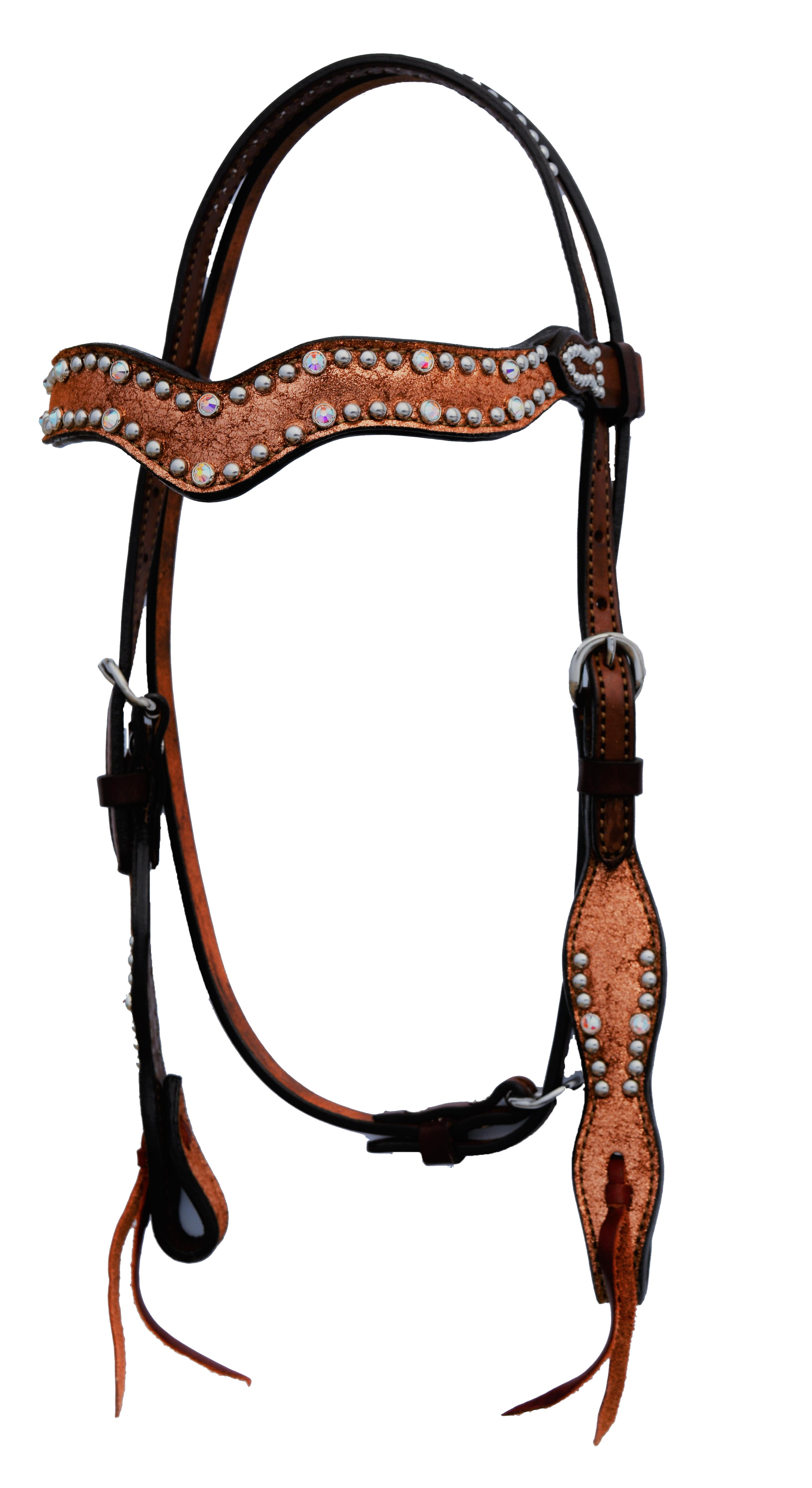 2117-JC WAVE STYLE HEADSTALL WITH COPPER CRACKLE OVERLAY
