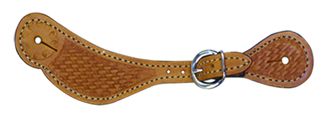 382-K Ladies spur strap golden leather basket tooled