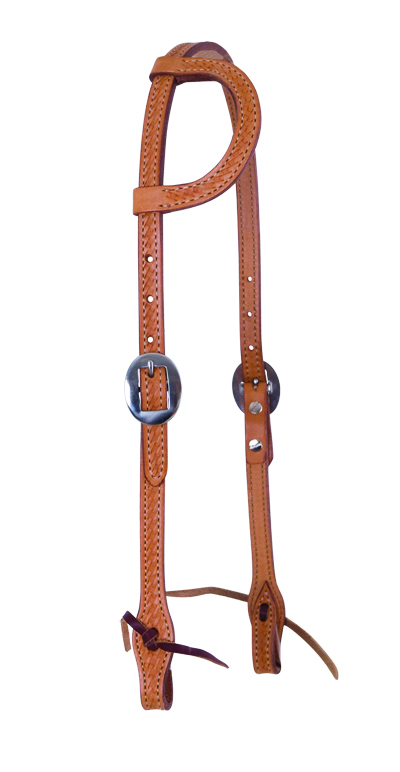 E-2070-K Elite flat one ear golden leather basket tooled