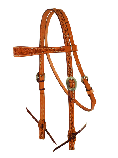 E-2800-AA ELITE golden HEADSTALL WITH FLORAL TOOLING