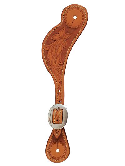 E-380-AA Elite men\'s spur strap golden leather floral tooled