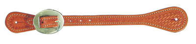 E-387-K Elite men's spur strap golden leather basket tooled
