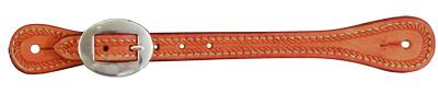 E-387-RPE Elite men's spur strap golden leather rope tooled