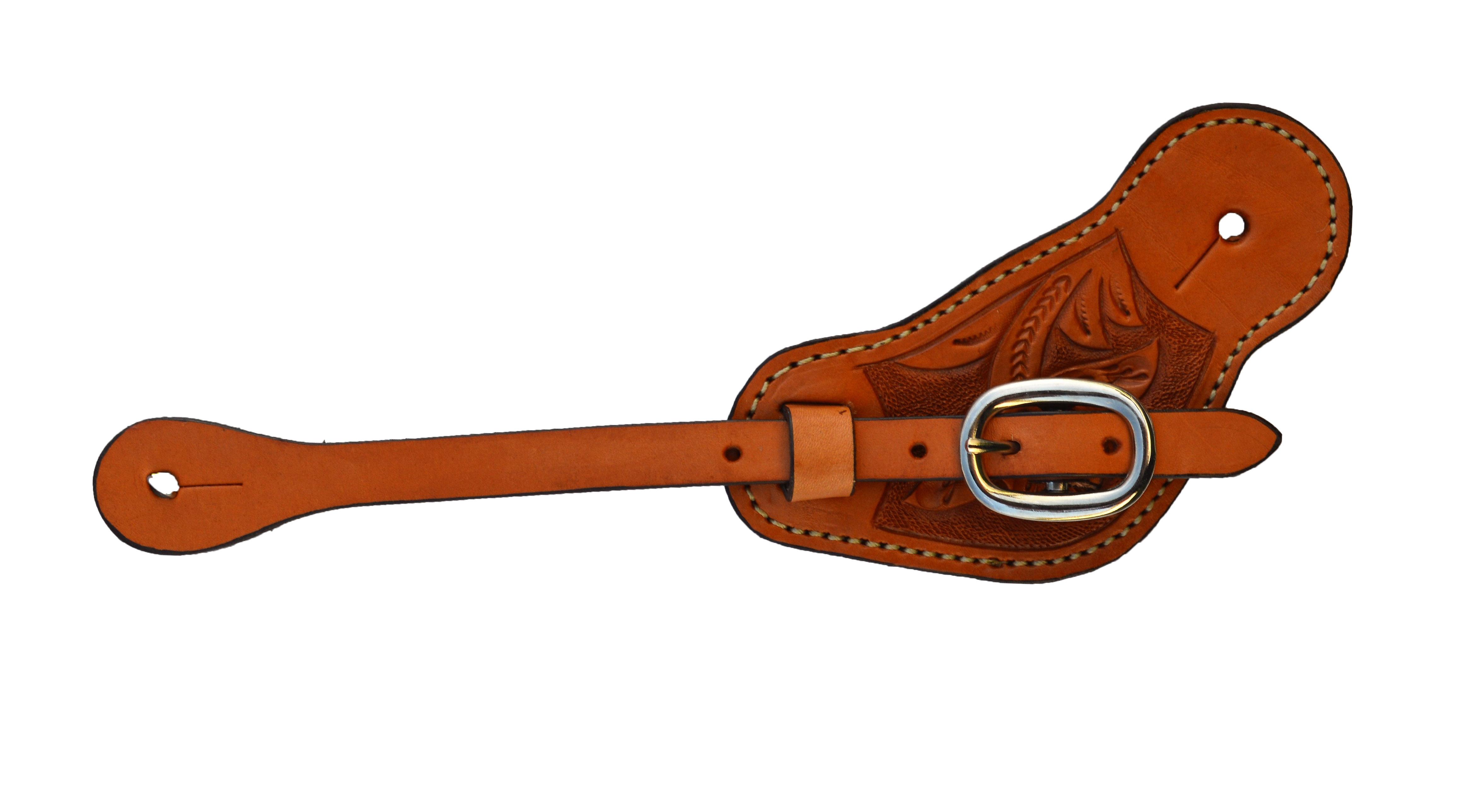 384-F Men's cowboy spur strap golden leather floral tooled