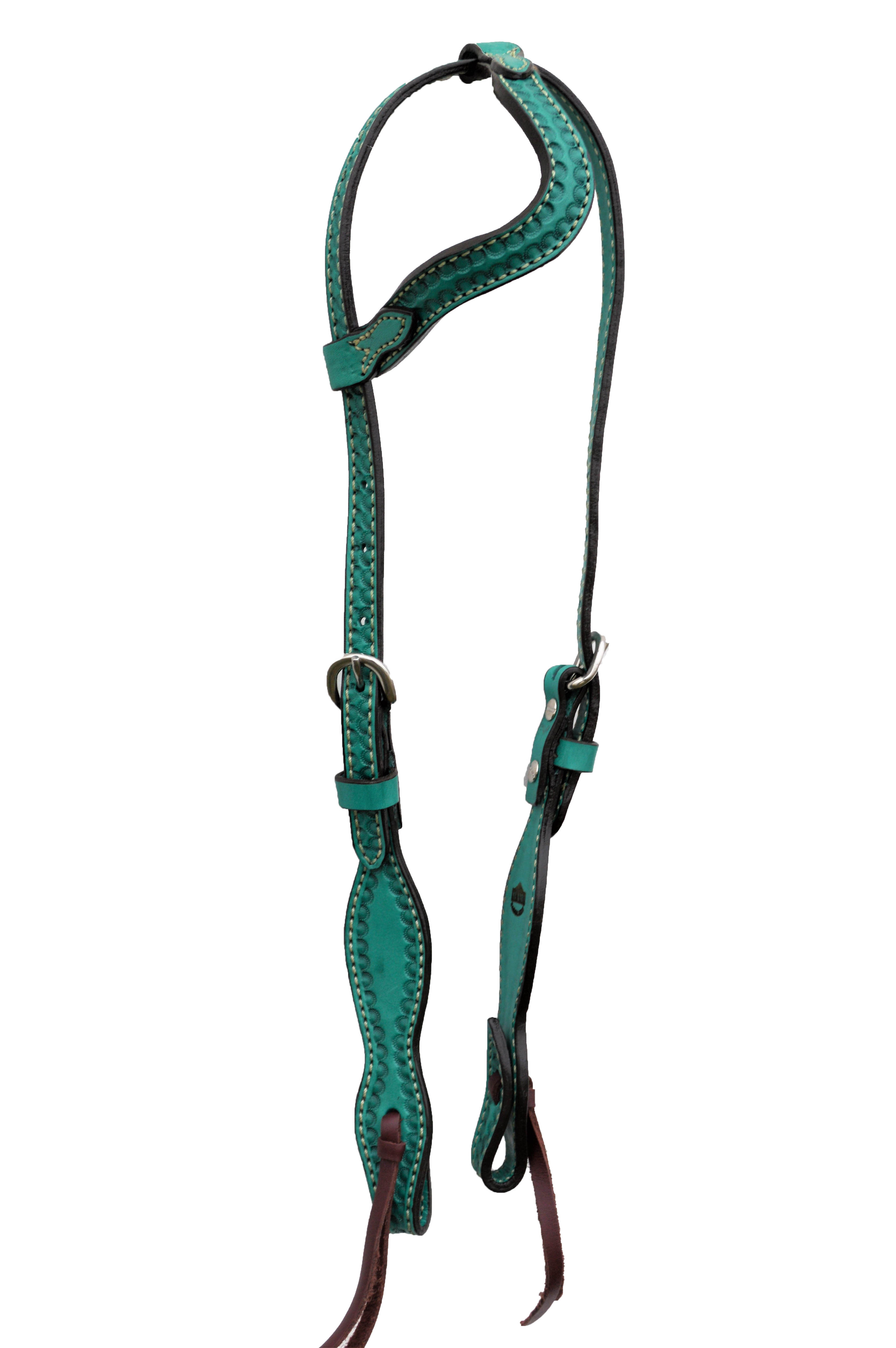 2074-Q wave one ear turquoise leather shell tooling