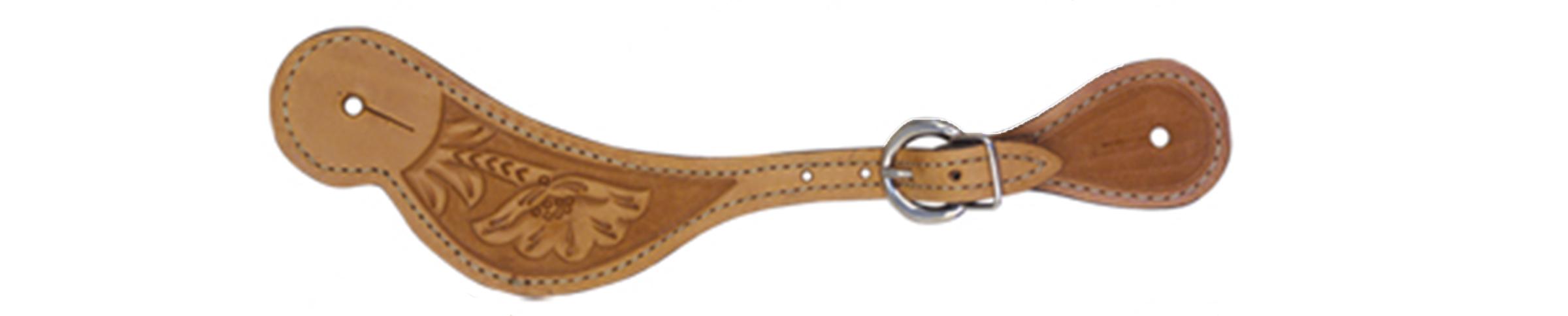 380-F Men's spur strap golden leather floral tooled