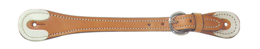 390 Men's spur strap golden leather with white rawhide tips/buttons