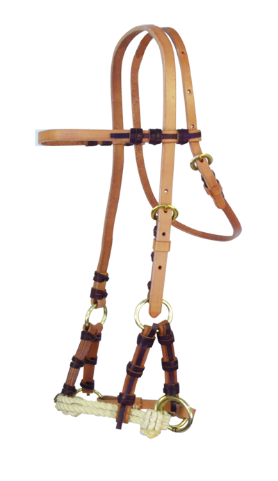 505-HL Harness leather side pull double rope