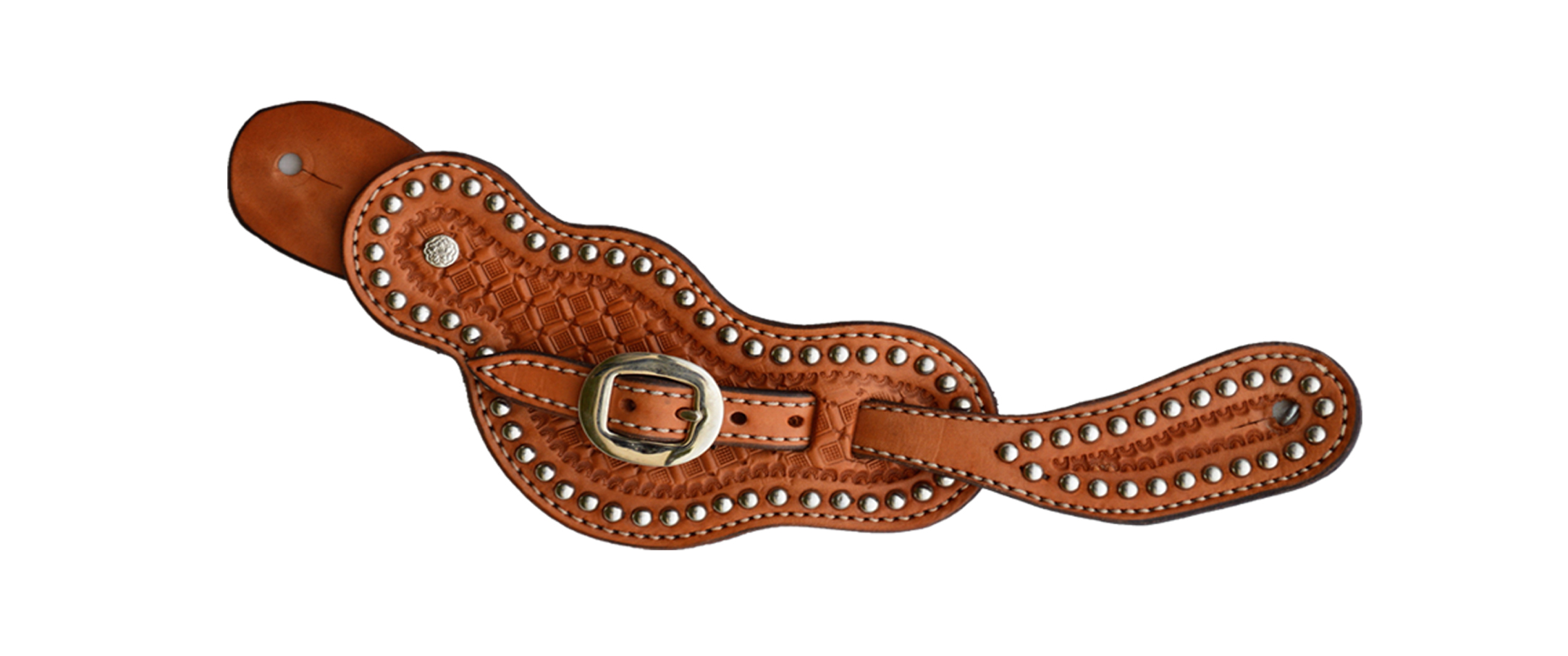 383-P Ladies spur strap golden leather geo tooled w/ button cover & spots